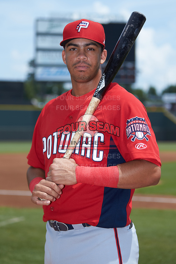Luis Garcia (16) of the Potomac Nationals poses for a photo prior to the game against the Winston-Salem Rayados at BB&T Ballpark on August 12, 2018 in Winston-Salem, North Carolina. The Rayados defeated the Nationals 6-3. (Brian Westerholt/Four Seam Images)