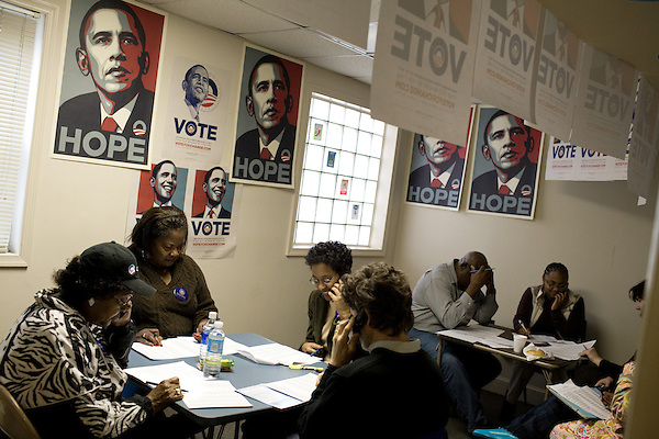 November 4, 2008. Durham, NC..One of the Obama field offices in Durham was the scene of a full scale phone bank to make sure registered voters got to the polls.. It was also a meeting point for canvassers to head out to the surrounding neighborhoods to search for voters who had not made t to the polls.