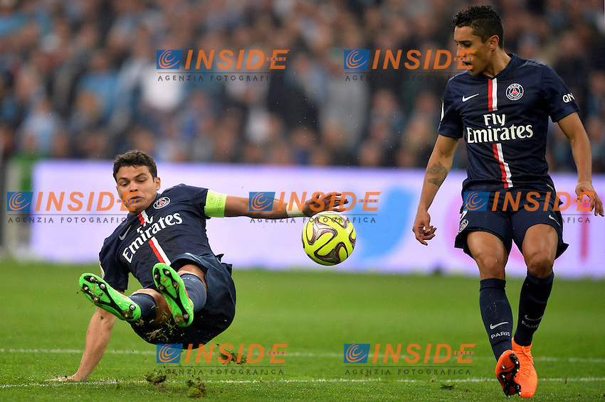 Thiago Silva (psg) - Marquinhos (psg) <br /> Football Calcio 2014/2015<br /> Ligue 1 Francia Stadio VelodromeOlympique Marsiglia - Paris Saint Germain <br /> Foto Panoramic / Insidefoto <br /> ITALY ONLY