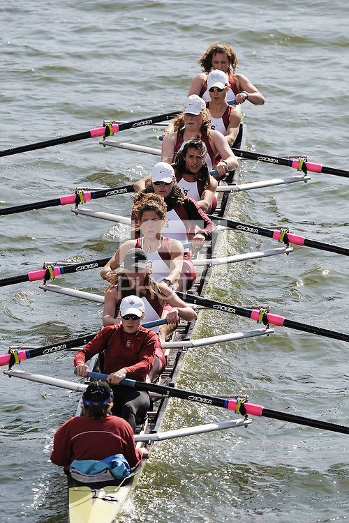 REDWOOD SHORES - MARCH 29:  The women's second varsity eight team competes against Virginia during the Pac-10 Challenge in Redwood Shores, CA.