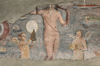 Detail of fresco of Venus Anadyomene (Venus Rising From the Sea), between amorini, fishes, and crustaceans, late 2nd century - early 3rd century, in the frigidarium of the Terme dei Sette Sapienti (Baths of the Seven Sages), Ostia Antica, Italy. Picture by Manuel Cohen