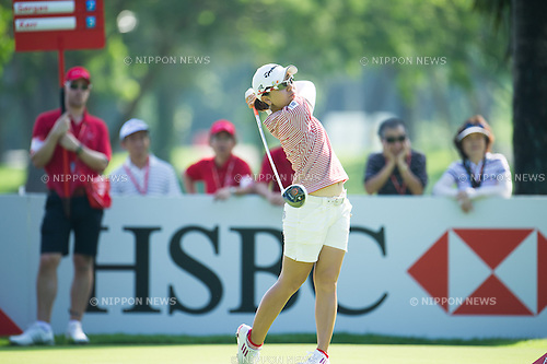 Mika Miyazato (JPN), MARCH 2, 2013 - Golf : Mika Miyazato of Japan tees off during the third round of the the HSBC Women's Champions golf tournament at Sentosa Golf Club in Singapore. (Photo by Haruhiko Otsuka/AFLO)