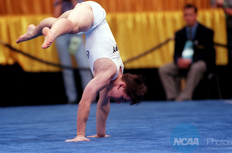 Caption: 19 APR 1997: Andrew Hampy of Califormia took second place in the floor exercise during the Division 1 Men's Gymnastics Championship at the Carver Hawkeye Arena on the University of Iowa campus in Iowa City, IA. Dave Peterson/NCAA Photos