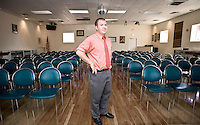 Mike Balsamo, Assistant to the President and resident, in TROSA's multipurpose room.  This room is used daily for morning meetings and afternoon seminars.