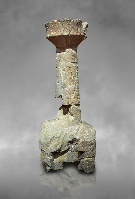 9th century BC Giants of Mont'e Prama  Nuragic model of a cetral tower of a Nuraghe with 4 towers around its base, Mont'e Prama archaeological site, Cabras. 2014 excavation. Civico Museo Archeologico Giovanni Marongiu - Cabras, Sardinia