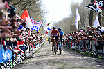 Jelle Wallays (BEL) Lotto-Soudal and Marc Soler (ESP) Movistar Team at the front of the race into the Trouee d'Arenberg during the 116th edition of Paris-Roubaix 2018. 8th April 2018.<br /> Picture: ASO/Pauline Ballet | Cyclefile<br /> <br /> <br /> All photos usage must carry mandatory copyright credit (&copy; Cyclefile | ASO/Pauline Ballet)