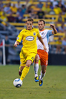 24 JULY 2010:  Robbie Rogers of the Columbus Crew (18) and Brad Davis of the Houston Dynamo (11) during MLS soccer game between Houston Dynamo vs Columbus Crew at Crew Stadium in Columbus, Ohio on July 3, 2010. Columbus defeated the Dynamo 3-0.
