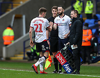 Bolton Wanderers' Marc Wilson replaces team mate Joe Williams <br /> <br /> Photographer Andrew Kearns/CameraSport<br /> <br /> The EFL Sky Bet Championship - Bolton Wanderers v Millwall - Saturday 9th March 2019 - University of Bolton Stadium - Bolton <br /> <br /> World Copyright © 2019 CameraSport. All rights reserved. 43 Linden Ave. Countesthorpe. Leicester. England. LE8 5PG - Tel: +44 (0) 116 277 4147 - admin@camerasport.com - www.camerasport.com