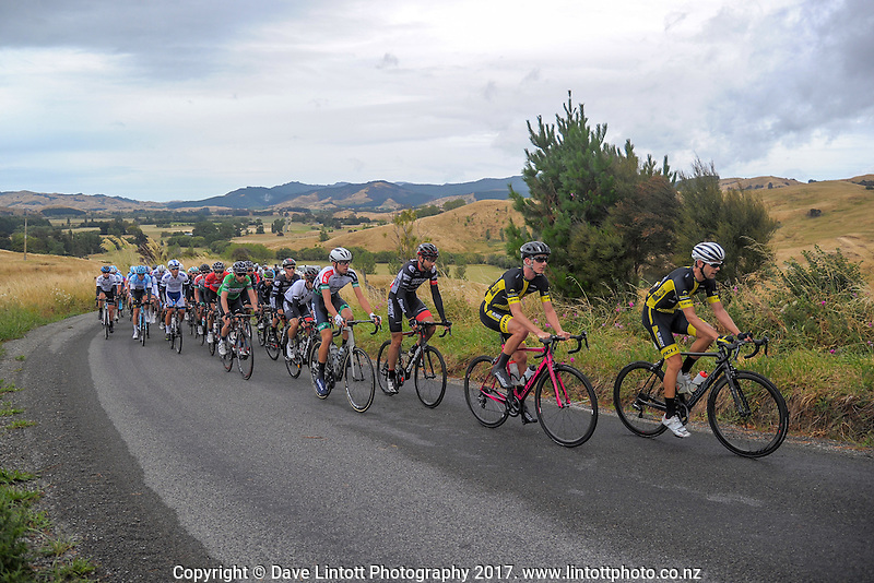 Riders climb Langdale Rd during the NZ Cycle Classic stage two of the UCI Oceania Tour in Wairarapa, New Zealand on Monday, 23 January 2017. Photo: Dave Lintott / lintottphoto.co.nz