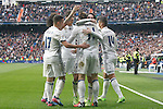 Real Madrid's Lucas Vazquez, Marcelo Vieira, Raphael Varane, Garet Bale, Isco Alarcon and Carlos Henrique Casemiro  celebrate goal during La Liga match. February 18,2017. (ALTERPHOTOS/Acero)