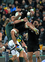 Vaea Fifita is tackled in midair during the Rugby Championship rugby union match between the New Zealand All Blacks and South Africa Springboks at Westpac Stadium in Wellington, New Zealand on Saturday, 27 July 2019. Photo: Dave Lintott / lintottphoto.co.nz