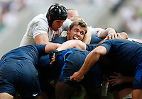 Photo: Richard Lane/Richard Lane Photography..England v France. Rugby World Cup 2007 Warm-up Match. 11/08/2007. .England's James Haskell holds France's Jean-Baptiste Elissalde.
