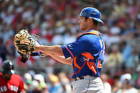 New York Mets catcher Anthony Recker (20) during a Spring Training game against the Boston Red Sox on March 16, 2015 at JetBlue Park at Fenway South in Fort Myers, Florida.  Boston defeated New York 4-3.  (Mike Janes/Four Seam Images)