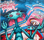 "Aliens ""Save the Planet"" grafitti in Newtown, Sydney, Australia"