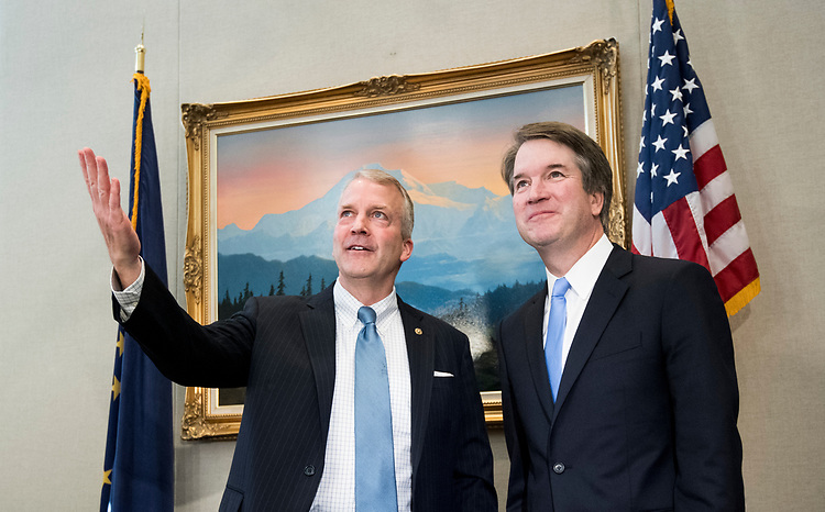 UNITED STATES - JULY 12: Sen. Dan Sullivan, R-Alaska, left, and Supreme Court nominee Brett Kavanaugh hold a photo-op before their meeting in the Hart Senate Office Building on Thursday, July 12, 2018. (Photo By Bill Clark/CQ Roll Call)