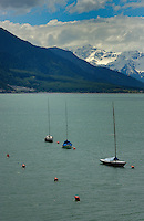 Three yachts.Lake Resia, Italian/ Austrian border.