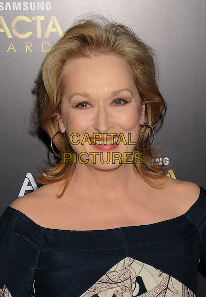 Meryl Streep.2012 Australian Academy Of Cinema And Television Arts Awards (AACTA) Held at Soho House, West Hollywood, California, USA..27th January 2012.headshot portrait hoop earrings black green  .CAP/ROT/TM.©Tony Michaels/Roth Stock/Capital Pictures