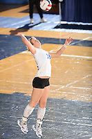 20 November 2008:  Middle Tennessee setter Leslie Clark (14) serves during the Middle Tennessee 3-0 victory over Arkansas State in the first round of the Sun Belt Conference Championship tournament at FIU Stadium in Miami, Florida.