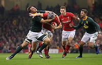 Wales' Jonathan Davies is tackled by South Africa&rsquo;s Duane Vermeulen<br /> <br /> Photographer Ian Cook/CameraSport<br /> <br /> Under Armour Series Autumn Internationals - Wales v South Africa - Saturday 24th November 2018 - Principality Stadium - Cardiff<br /> <br /> World Copyright &copy; 2018 CameraSport. All rights reserved. 43 Linden Ave. Countesthorpe. Leicester. England. LE8 5PG - Tel: +44 (0) 116 277 4147 - admin@camerasport.com - www.camerasport.com