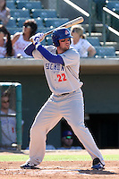 Josh Whitaker #22 of the Stockton Ports bats against the Lancaster JetHawks at Clear Channel Stadium on July 8, 2012 in Lancaster, California. Lancaster defeated Stockton 10-8. (Larry Goren/Four Seam Images)