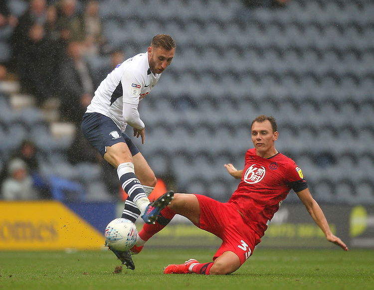 Preston North End's Louis Moult battles with  Wigan Athletic's Kal Naismith <br /> <br /> Photographer Mick Walker/CameraSport<br /> <br /> The EFL Sky Bet Championship - Preston North End v Wigan Athletic - Saturday 10th August 2019 - Deepdale Stadium - Preston<br /> <br /> World Copyright © 2019 CameraSport. All rights reserved. 43 Linden Ave. Countesthorpe. Leicester. England. LE8 5PG - Tel: +44 (0) 116 277 4147 - admin@camerasport.com - www.camerasport.com