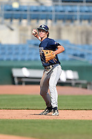 Ryan Mountcastle (15) of Hagerty High School in Winter Springs, Florida playing for the Tampa Bay Rays scout team during the East Coast Pro Showcase on August 2, 2014 at NBT Bank Stadium in Syracuse, New York.  (Mike Janes/Four Seam Images)