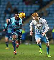Myles Weston of Wycombe Wanderers & Ryan Haynes of Coventry City during the The Checkatrade Trophy - EFL Trophy Semi Final match between Coventry City and Wycombe Wanderers at the Ricoh Arena, Coventry, England on 7 February 2017. Photo by Andy Rowland.