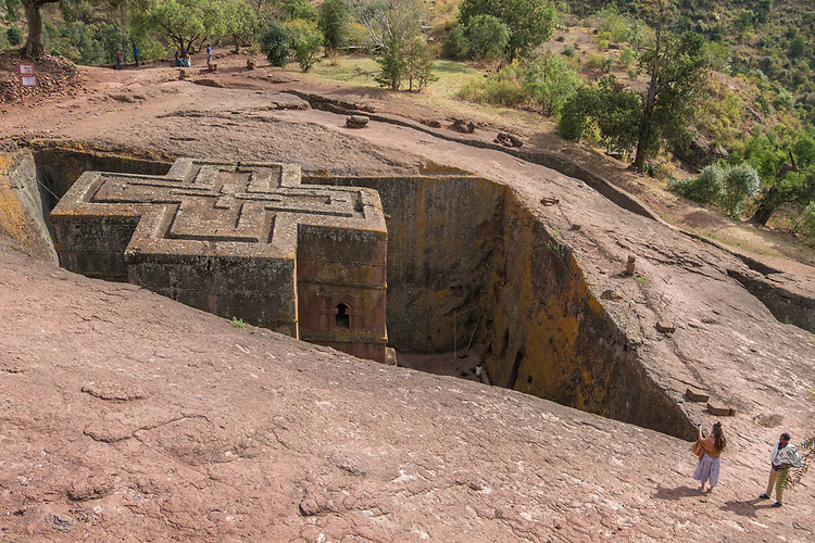 Bet Giyorgis is the most majestic of Lalibela's churches with its shape carved in a symmetrical cruciform tower some 15 meters in height.