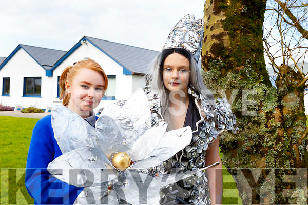 Ruth Borgeat (Designer) and Lucy Setterfield (Designer/Model) representing the Castleisland Community College in the upcoming Junk Kouture Southern finals