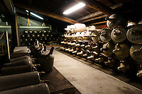 "Koshu matured sake in storage at Tsukinokatsura sake brewery, Fushimi, Kyoto, Japan, October 10, 2015. Tsukinokatsura Sake Brewery was founded in 1675 and has been run by 14 generations of the Masuda family. Based in the famous sake brewing region of Fushimi, Kyoto, it has a claim to be the first sake brewery ever to produce ""nigori"" cloudy sake. It also brews and sells the oldest ""koshu"" matured sake in Japan."