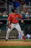 Lowell Spinners Nicholas Northcut (24) at bat during a NY-Penn League Semifinal Playoff game against the Batavia Muckdogs on September 4, 2019 at Dwyer Stadium in Batavia, New York.  Batavia defeated Lowell 4-1.  (Mike Janes/Four Seam Images)