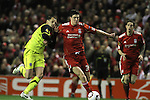 24.02.2011 Europa League Football from Anfield Liverpool v Sparta Prague. Liverpool defender Martin Kelly (red shirt) holds off Sparta midfielder Marek Matejovsky during the first half.