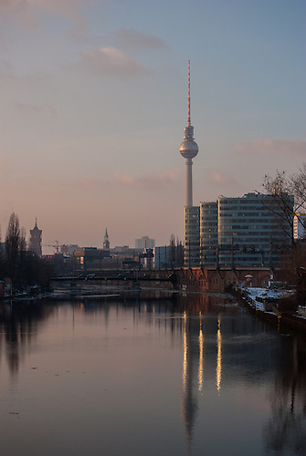 Walk from Mitte through to Treptow along the Spree one very cold winters afternoon.<br /> BVG offices and TV tower