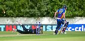 ICC World T20 Qualifier (Warm up match) - Scotland V Namibia at Grange CC, Edinburgh - Scotland bowler Safyaan Sharif tries to run out Namibia bat Louis Klazinga - the batsman survived! — credit @ICC/Donald MacLeod - 06.7.15 - 07702 319 738 -clanmacleod@btinternet.com - www.donald-macleod.com