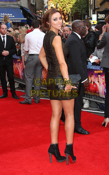 "UNA HEALY of The Saturdays.""The Inbetweeners"" UK premiere, Vue West End cinema, Leicester Square, London, England..August 17th, 2011.full length gold dress bronze clutch bag side looking over shoulder black ankle boots.CAP/ROS.©Steve Ross/Capital Pictures"