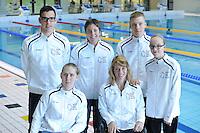 ZWEMMEN: HEERENVEEN: 01-11-2014, SportStad, NK parazwemmen, v.l.n.r. DAPHNE VAN DEN BROEK, RIXT VAN DER HORST, SANNE MELISSA HOVING, achter: KASPER STROES, ALYDA NORBRUIS, TRISTAN BANGMA, ©foto Martin de Jong