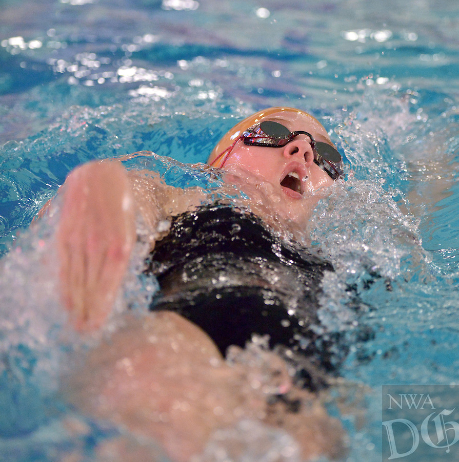 STAFF PHOTO BEN GOFF  @NWABenGoff -- 11/20/14 Loren Hedgecock of Bentonville swims in the girls' 200 yard individual medley during the Springdale Invitational swim meet at the Jones Center for Families in Springdale on Thursday Nov. 20, 2014. Thomas won with a time of 2:09.93 min. Hedgecock placed third in the event with a time of 2:21.14min.