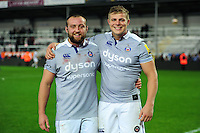 Tom Dunn and Tom Ellis of Bath Rugby pose for a photo after the match. Aviva Premiership match, between Exeter Chiefs and Bath Rugby on October 30, 2016 at Sandy Park in Exeter, England. Photo by: Patrick Khachfe / Onside Images
