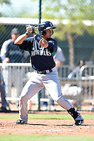Seattle Mariners first baseman Yordyn Calderon (3) during an Instructional League game against the Cleveland Indians on October 1, 2014 at Goodyear Training Complex in Goodyear, Arizona.  (Mike Janes/Four Seam Images)