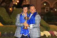 Rory McIlroy and Graeme McDowell with the Ryder Cup at the end of Sunday's singles matches at the Ryder Cup 2012, Medinah Country Club,Medinah, Illinois,USA 30/09/2012.Picture: Fran Caffrey/www.golffile.ie.