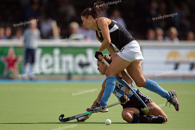 Womens Champions Trophy, Amsterdam 2011.02072011 Day 6 Argentina v New Zealand.Krystal Forgesson crashes into her opponent...Credit: Grant Treeby.Editorial use only(No Archiving)