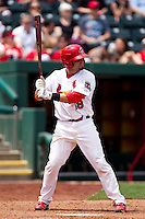 Nick Derba (18) of the Springfield Cardinals at bat during a game against the Arkansas Travelers at Hammons Field on May 8, 2012 in Springfield, Missouri. (David Welker/ Four Seam Images)