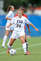 2 October 2011:  FIU's Cortney Bergin (24) handles the ball in the first half as the FIU Golden Panthers defeated the University of South Alabama Jaguars, 2-0, at University Park Stadium in Miami, Florida.