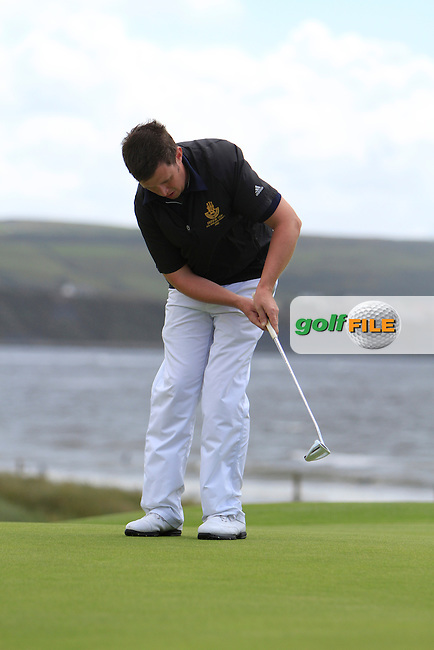 Paul O;Hara (Kilkenny) on the 3rd green during the South of Ireland Amateur Open Championship Quarter Finals at Lahinch Golf Club  30th July 2013 <br /> Picture:  Thos Caffrey / www.golffile.ie