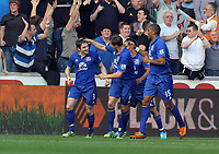 FAO SPORTS PICTURE DESK<br /> Pictured: Leighton Baines of Everton (L) with team mates celebrating his first goal. Saturday, 24 March 2012<br /> Re: Premier League football, Swansea City FC v Everton at the Liberty Stadium, south Wales.