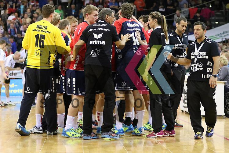 Flensburg, 05.04.2015, Sport, Handball, DKB Handball Bundesliga, Saison 2014/2015, GWD Minden - SG Flensburg-Handewitt<br /> <br /> Foto &copy; P-I-X.org *** Foto ist honorarpflichtig! *** Auf Anfrage in hoeherer Qualitaet/Aufloesung. Belegexemplar erbeten. Veroeffentlichung ausschliesslich fuer journalistisch-publizistische Zwecke. For editorial use only.