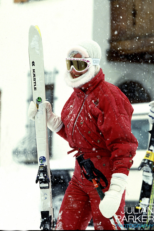 Diana, The Princess of Wales sking in Lech, during an annual ski holiday with her sons,  Prince William, and Prince Harry
