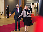 Brussels, Belgium -- November 24, 2017 -- Eastern Partnership Summit, meeting of Heads of State / Government (EU and six Eastern partner countries) at the Europa building - seat of the European Council and Council of the European Union; here, Jean-Claude JUNCKER, President of the European Commission, with a protocol assistance -- Photo: © HorstWagner.eu