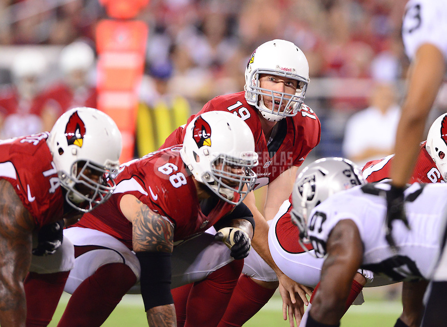 Aug. 17, 2012; Glendale, AZ, USA; Arizona Cardinals quarterback (19) John Skelton in the second half against the Oakland Raiders during a preseason game at University of Phoenix Stadium. Mandatory Credit: Mark J. Rebilas-