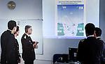 Baku - Azerbaijan - 08 December 2014 -- Azerbaijan State Marine Academy. -- Instructor and teacher Sadigov Asaf during a lesson on Global maritime distress safety Systems a presentation on tradio communication, radio navigation. -- PHOTO: Sitara Ibrahimova / EUP-IMAGES